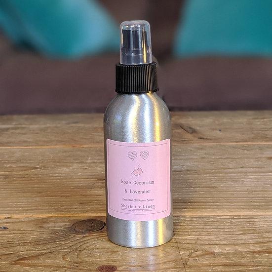 Rose Geranium & Lavender Luxury Room Spray. 100% Pure Essential