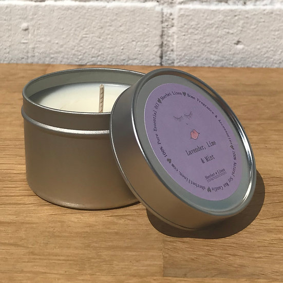 Lavender, Lime & Mint Travel Soy Wax Candle. 100% Pure Essential Oils