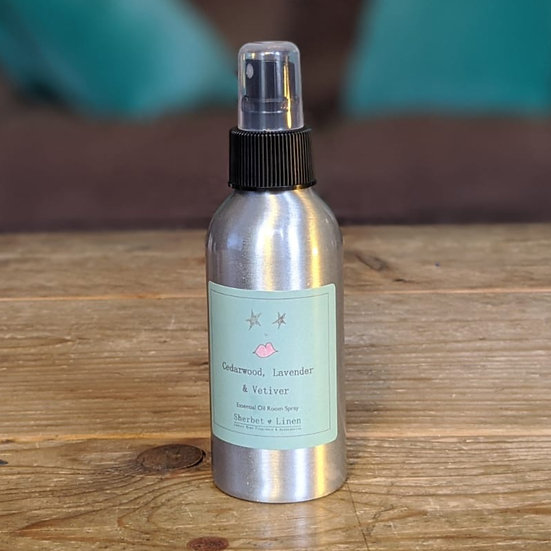 Cedarwood, Lavender & Vetiver Luxury Room Spray. 100% Pure Essential Oil