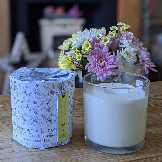 Lemongrass & Rosemary Soy Wax Hand-Poured Luxury Large Triple Wick Candle.