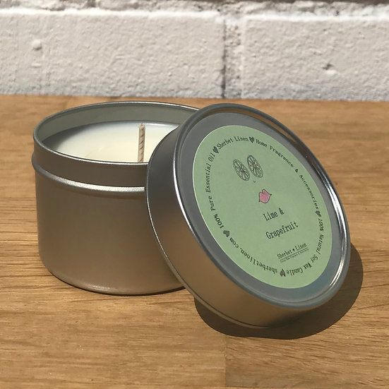 Lime & Grapefruit Travel Soy Wax Candle. 100% Pure Essential Oil