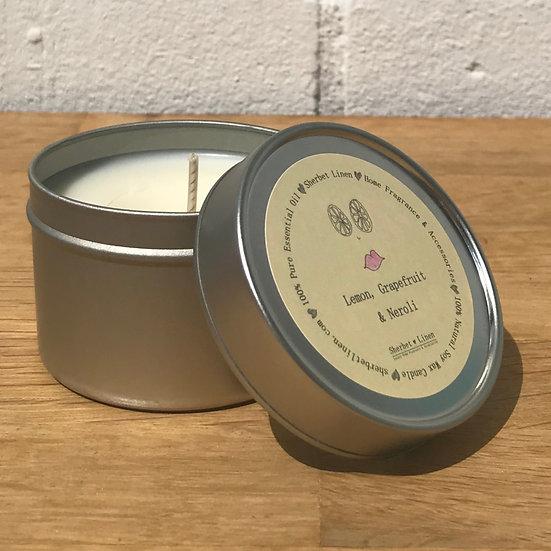Lemon, Grapefruit & Neroli Travel Soy Wax Candle. 100% Pure Essential Oils