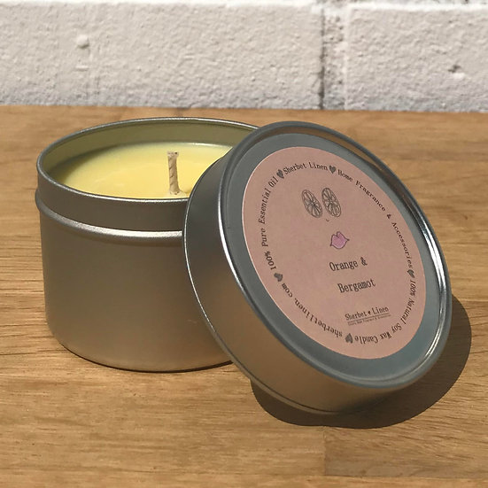 Orange & Bergamot Travel Soy Wax Candle. 100% Pure Essential Oils