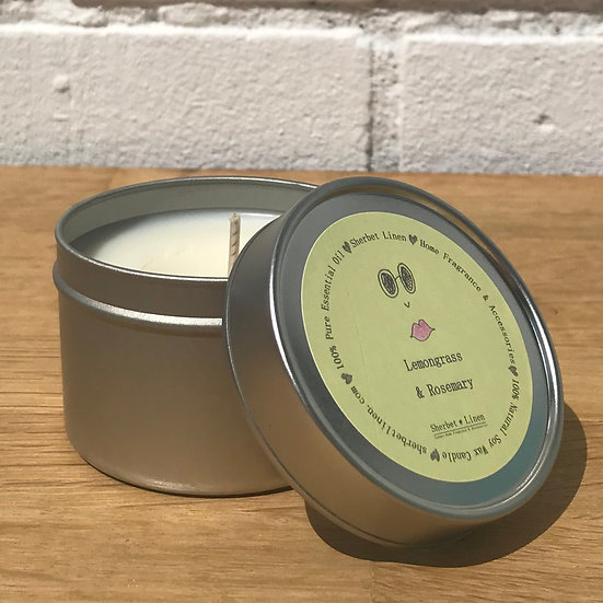 Lemongrass & Rosemary Travel Soy Wax Candle. 100% Pure Essential Oils