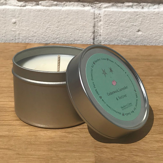 Cedarwood, Lavender & Vetiver Travel Soy Wax Candle. 100% Pure Essential Oil