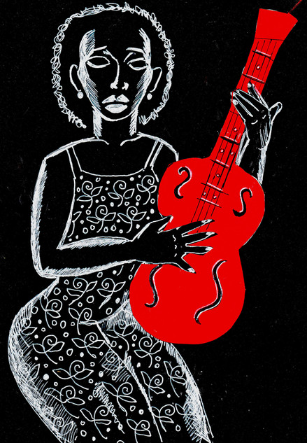 red guitar woman