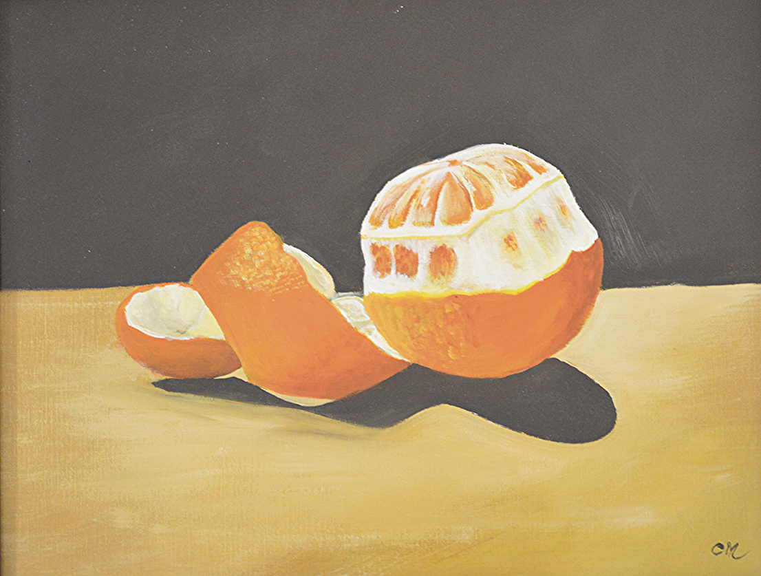 Still Life Orange. Acrylic on Canvas.