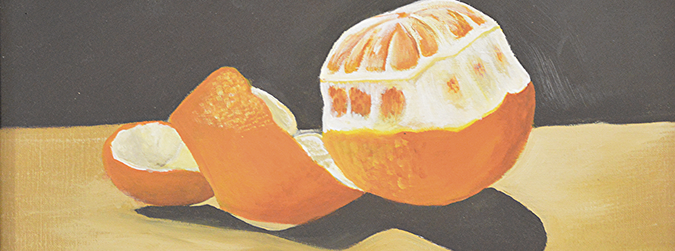 Still Life Orange. Acrylic on Canvas.