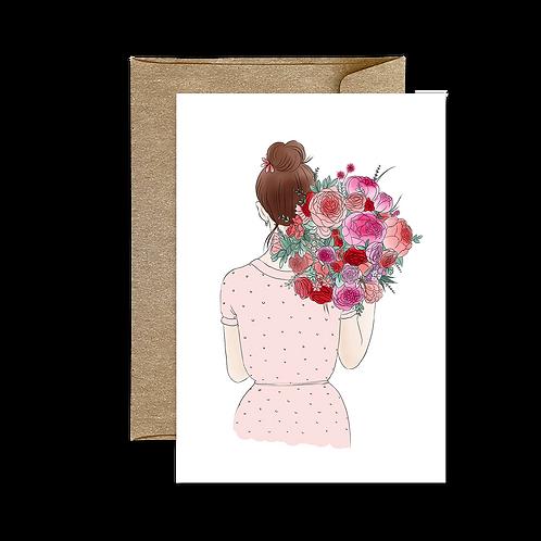 Carte Bouquet Dos Rose