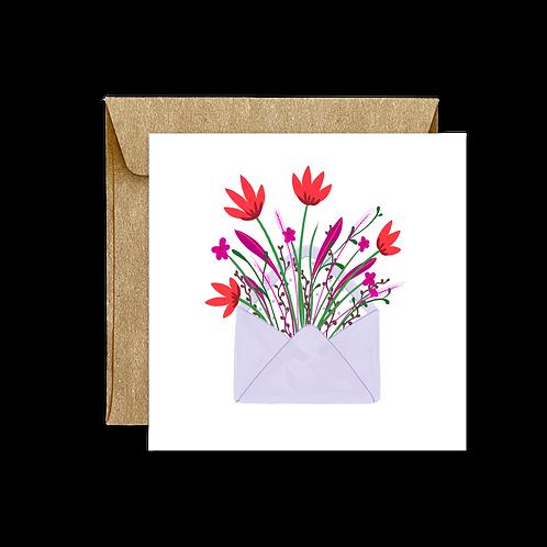 Carte Pliée Enveloppe Fleurs