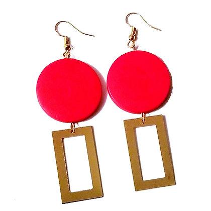 Boucles d'oreilles pendantes rouge & or