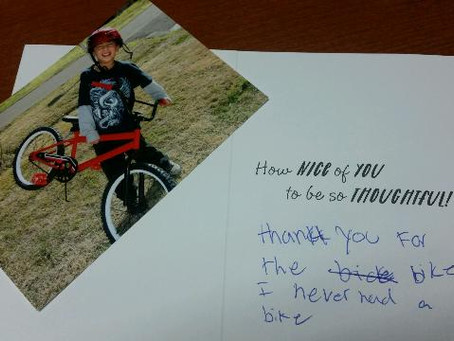 A VARIETY CHILD RESPONDS TO SALESFORCE FOR SPONSORING A BIKE BUILD.