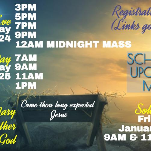Friday 12/25th 1pm Christmas Mass
