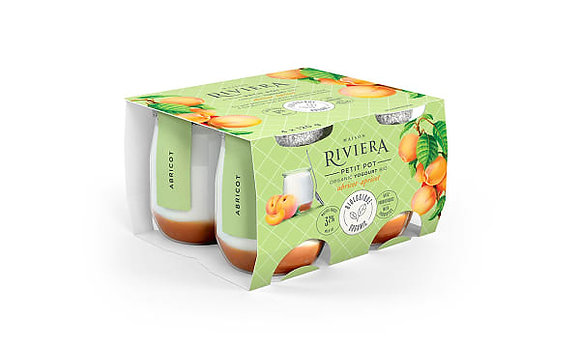 Riviera Organic Yogurt Petits Pots Apricot - 4x120g