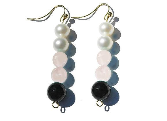 Onyx, Powder Pink, Pearl & Gold Earrings