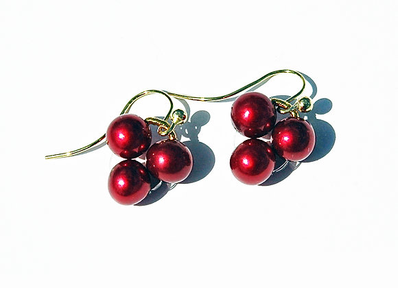 Gold & Pearl Cherries Earrings