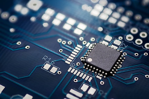 Electronic chip component on the blue pr