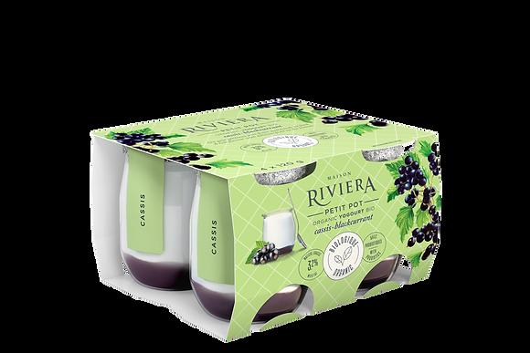 Riviera Organic Yogurt Petits Pots Blackcurrant- 4x120g