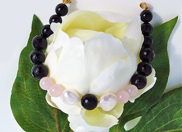 Onyx, Powder Pink, Pearl & Gold Bracelet