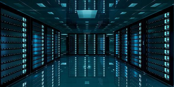 Dark server room data center storage wit