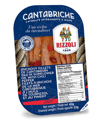 Rizzoli Spicy Anchovies in Grapeseed Oil - 40g