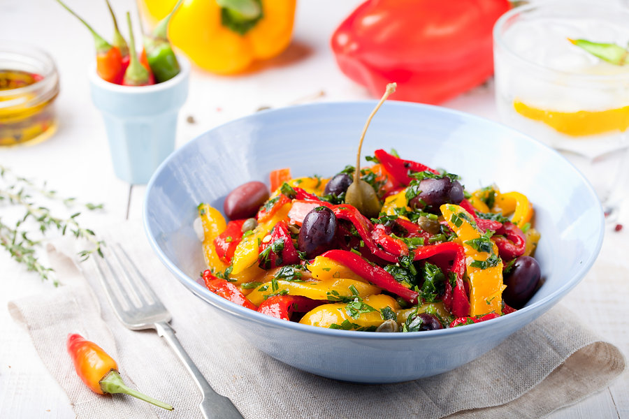 Roasted yellow and red bell pepper salad