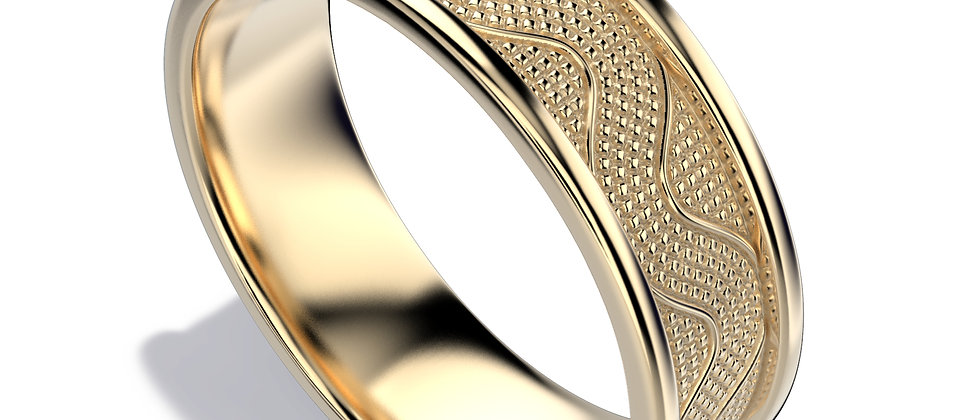 Mozaic yellow gold band