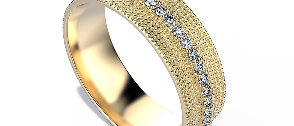 Mozaic Gold Band Straight Diamond Line.