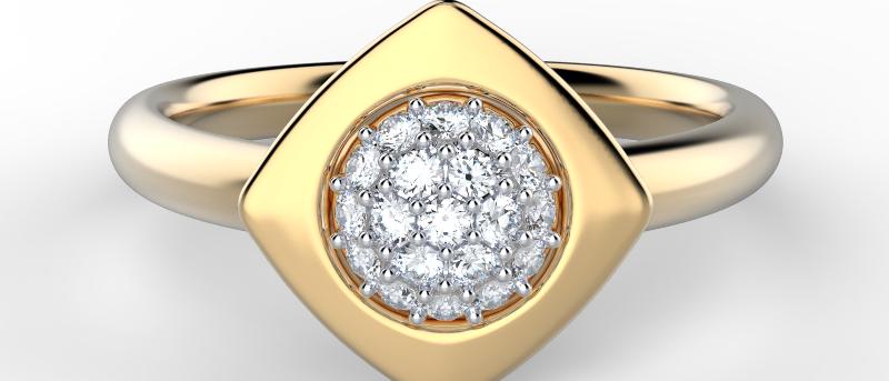 Glowing Modern Pave Ring