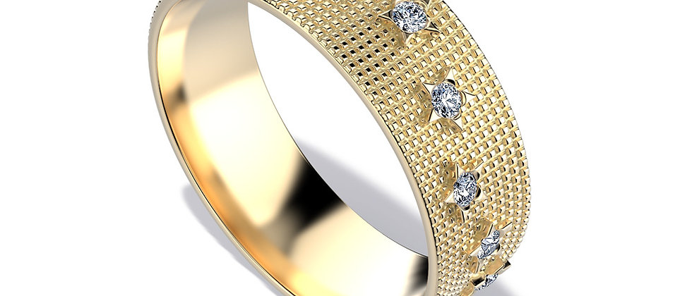 Mozaic Gold Band Scattered Stars and Diamonds