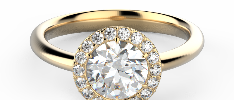 Glowing Solitaire Pave Ring