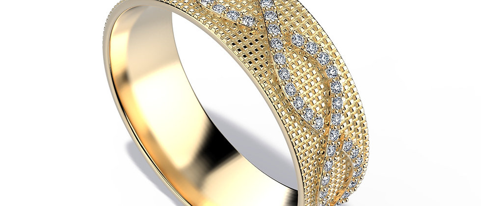 Mozaic Gold Band Twist Diamond Line