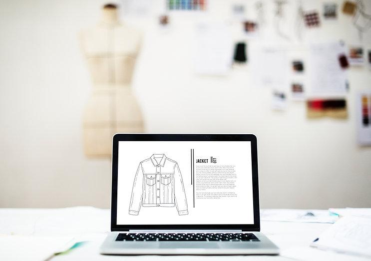 Laptop mit Mode-Skizze