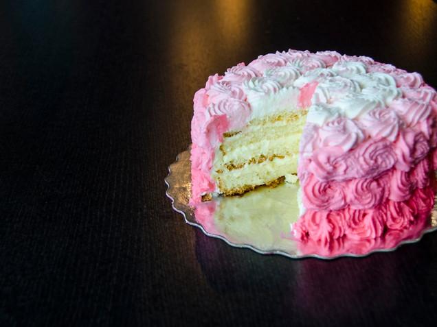 Inside Slice Rose Piping - Vanilla Custard Cake