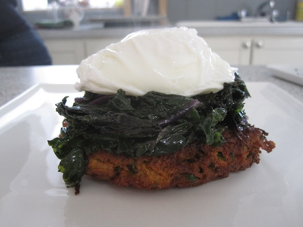 Sweet Potato Pancake, Topped with Sauteed Kale and Poached Egg