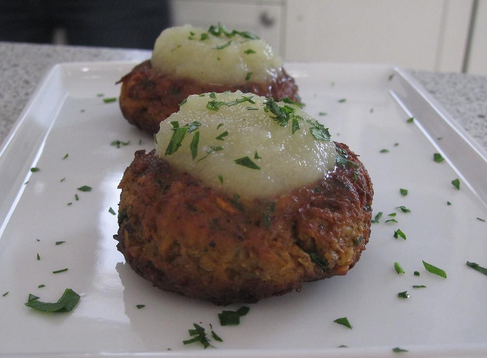 Sweet Potato Pancakes with Applesauce