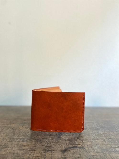 一点物 高級革:ルガトー使用の2つ折りコンパクト財布 深橙色 小さいふ