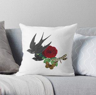 Vintage Rose and Swallows