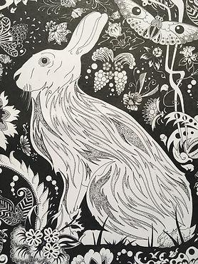 Hare in the Flower Garden