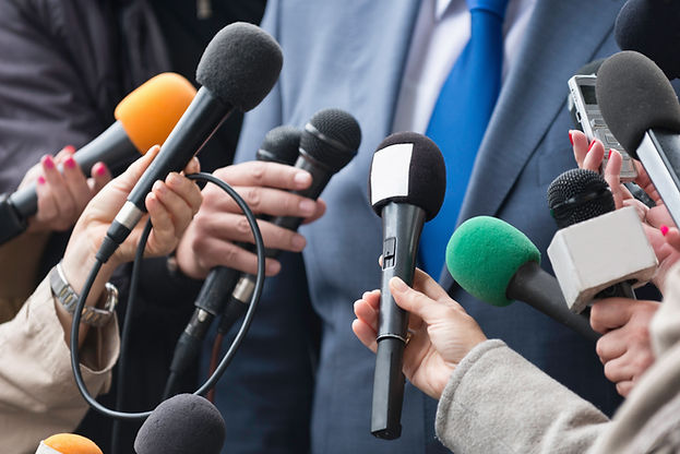 Media interview - group of journalists s