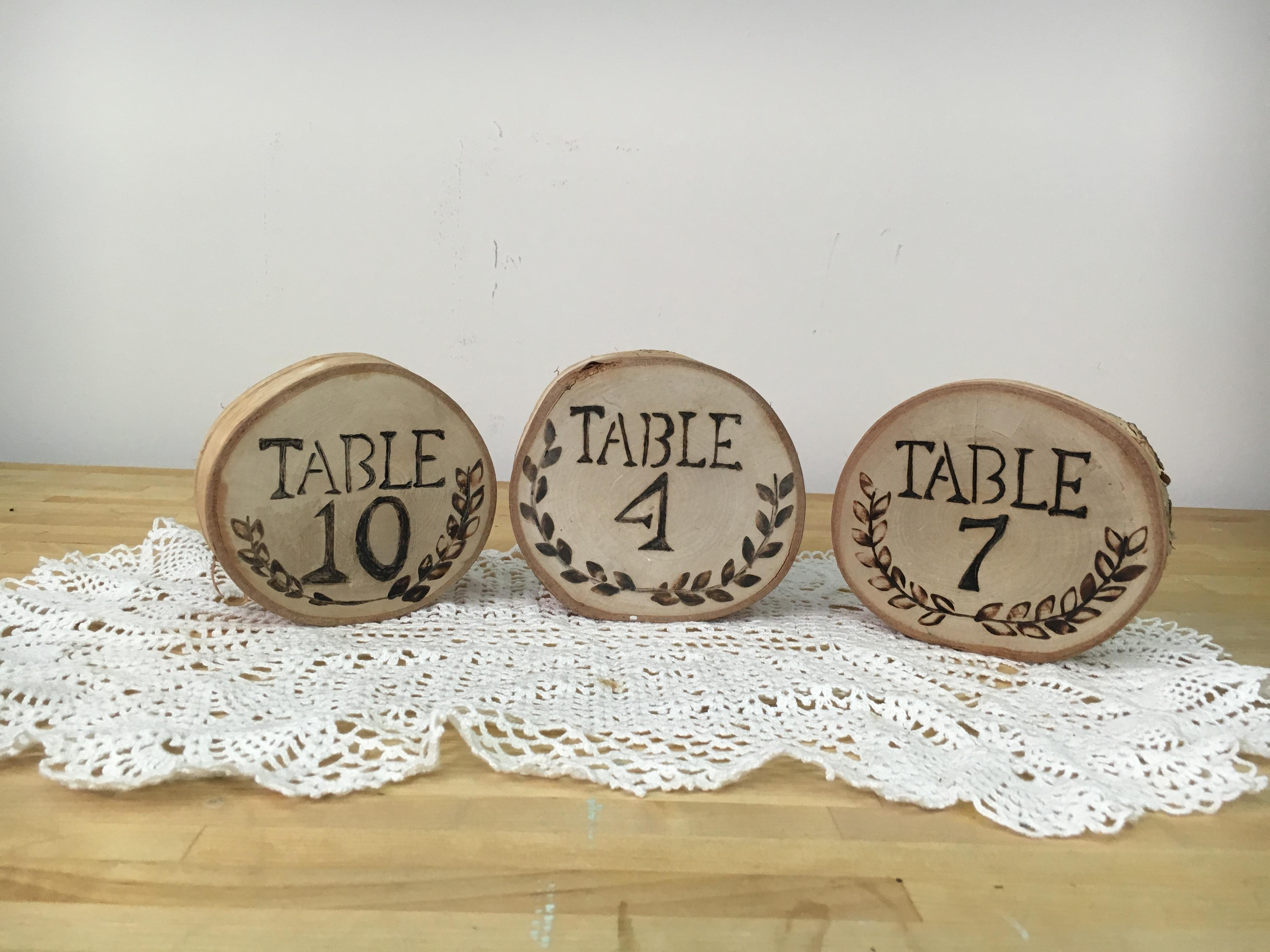 Handmade Birch Wood Table Numbers