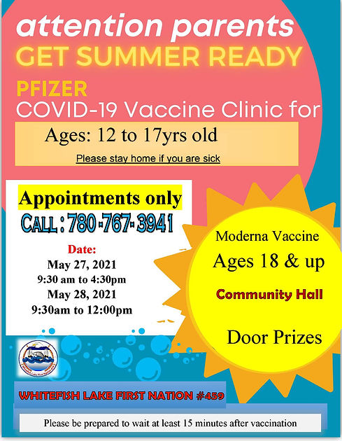 COVID 19 Vaccine Clinic for ages 12 - 17, and 18+