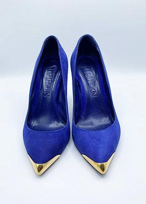 Alexander McQueen Blue Suede Heel