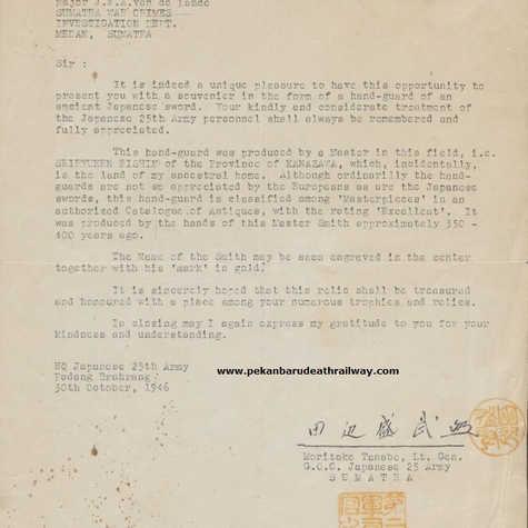 Letter to Maj J. J. A. van de Lande (WM