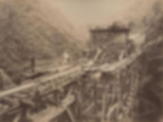 Building a viaduct in the Anai valley for the railway
