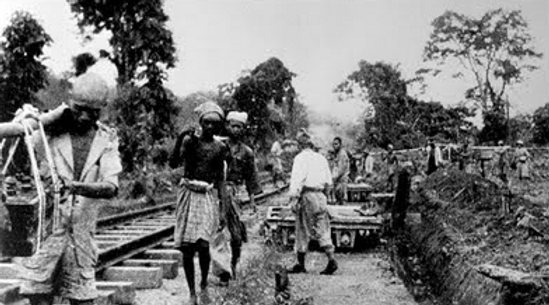 Romusha constructing the Thai-Burma Railway
