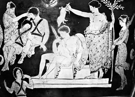 Аполлон обмывает Ореста кровью свиньи и Клитемнестра будет Эриней