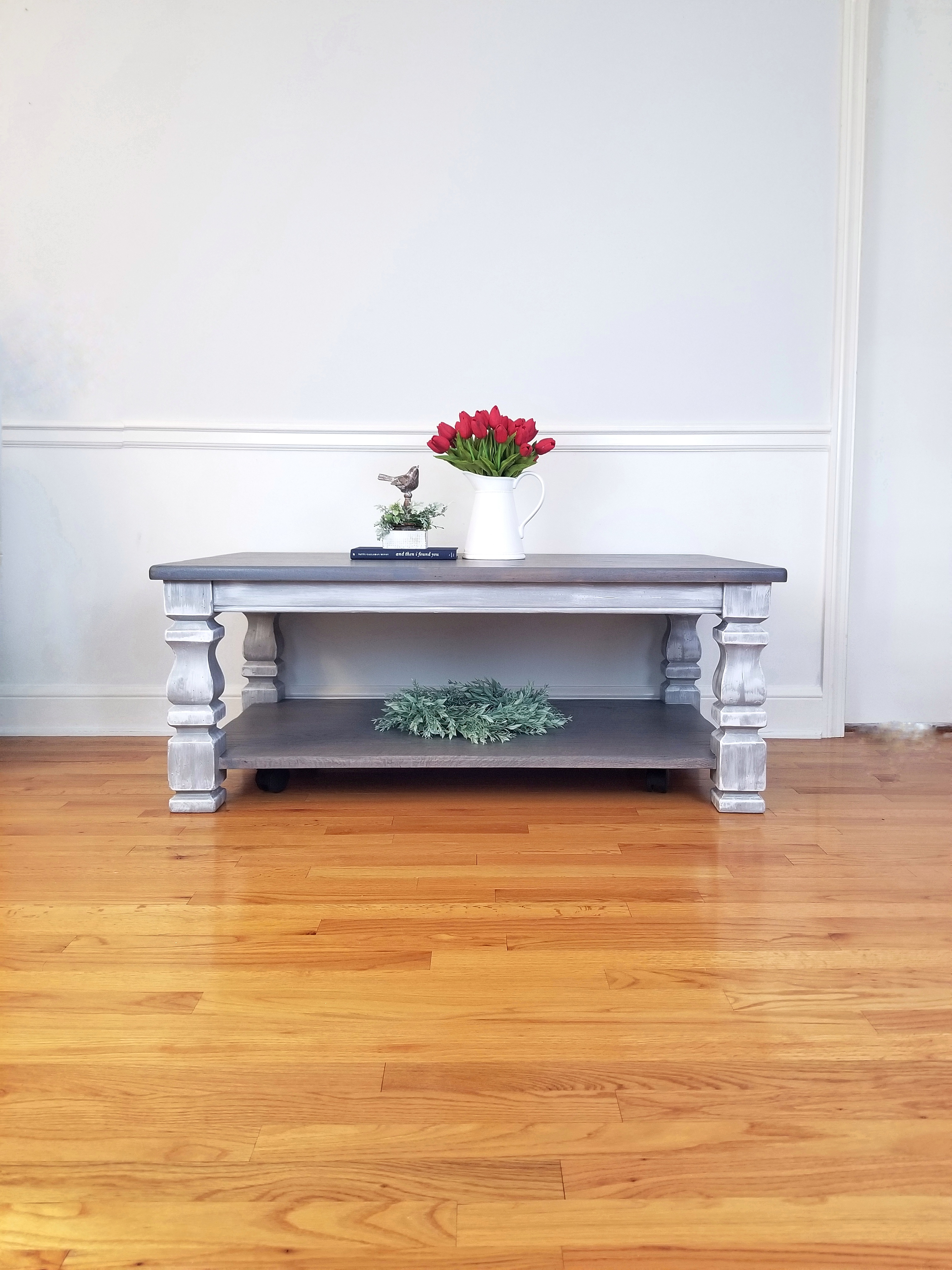 Oak Coffee Table - Weathered Gray Stain.