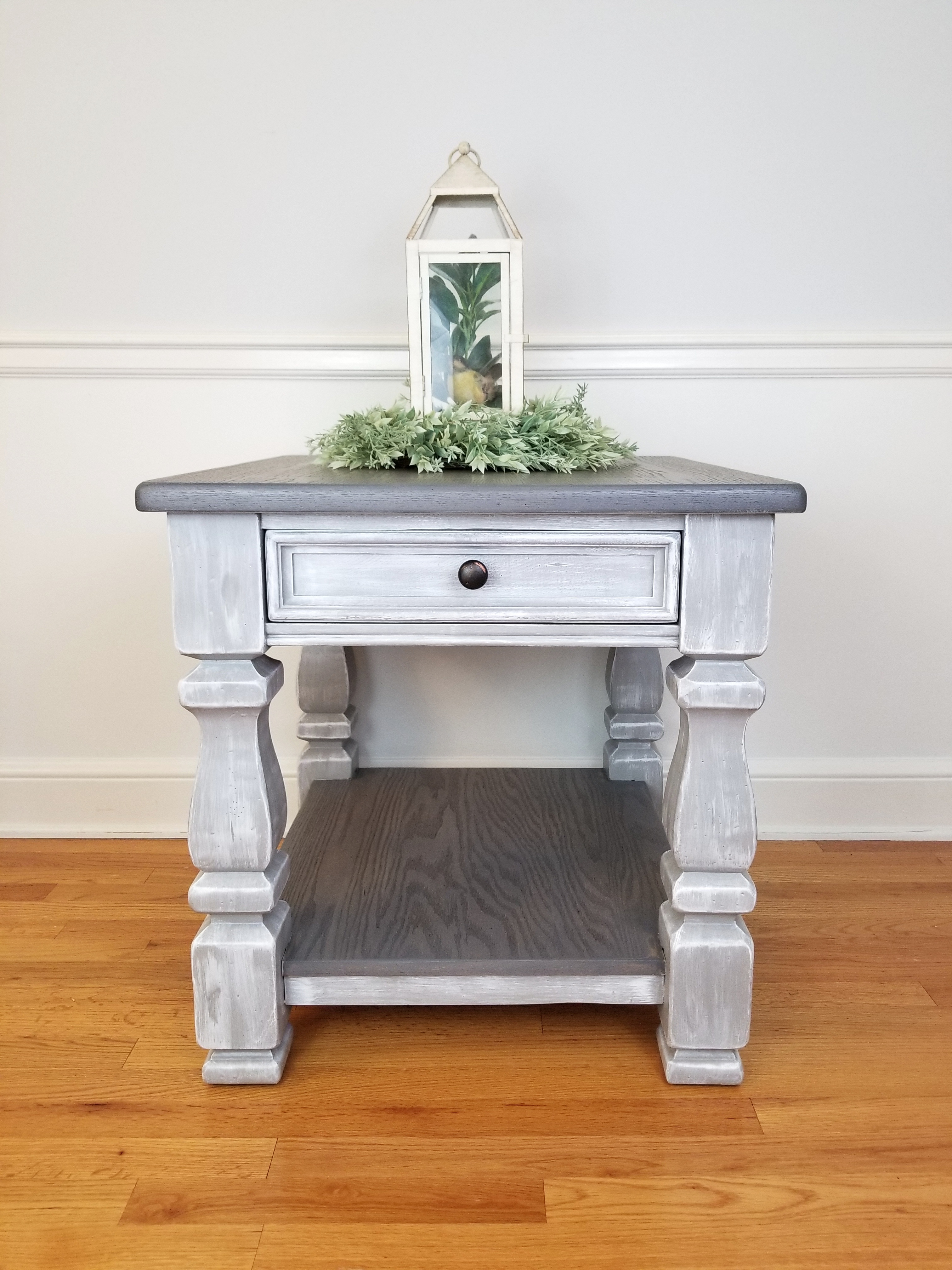 End Table - Weathered Gray and Textured