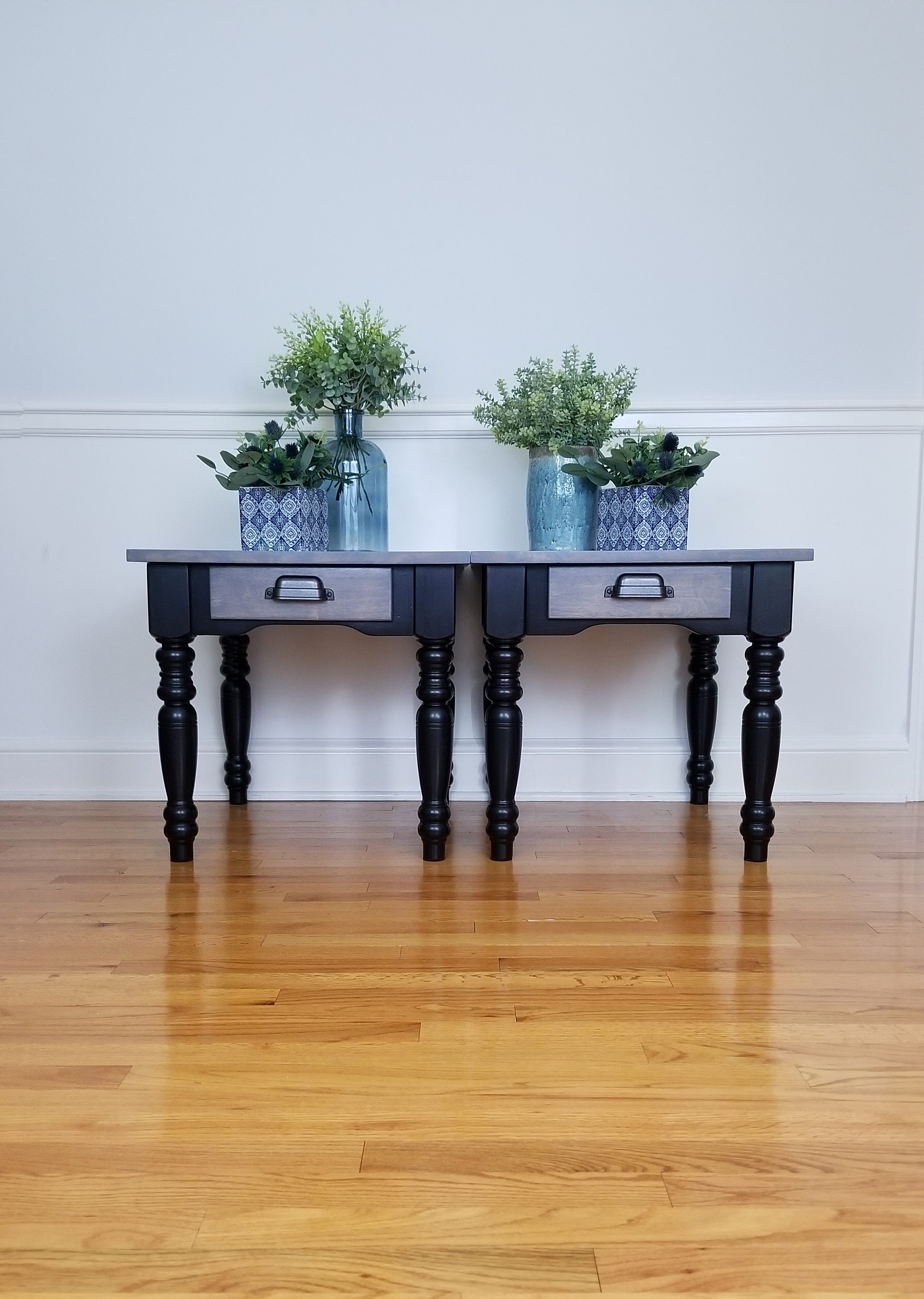 End Tables - Jet Black and Weathered Gra